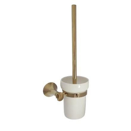 Ёрш для унитаза , керамическая колба с креплением к стене под СВЕТЛОЕ ЗОЛОТО  MAGNUS