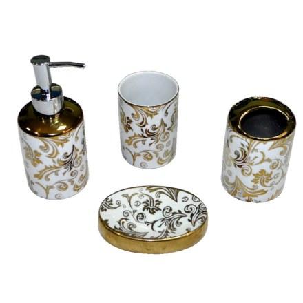 Набор в ванную настольный керамический , расписной , золотой