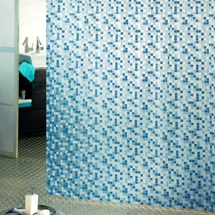 Штора для ванны 180Х200 ПВХ MOSAICO синяя