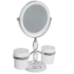 Зеркало косметическое настольное , с двумя стаканами для принадлежностей САНАКС