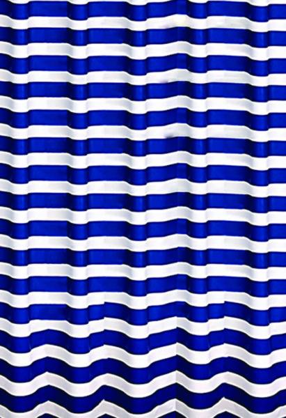 Штора для ванной MARINE сине/белая с кольцами
