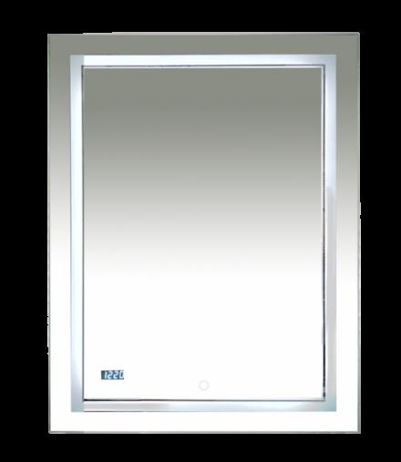 Зеркало  Misty 2 Неон LED 600х800 сенсор на зеркале + часы (двойная подсветка)