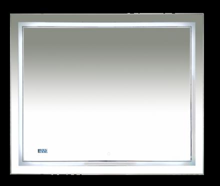 Зеркало Misty 2 Неон LED 1000х800 сенсор на зеркале + часы (двойная подсветка)