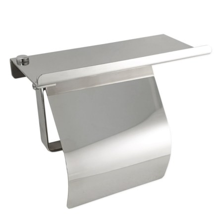 Держатель туалетной бумаги из нержавеющей стали , антивандальный с полочкой и КРЫШКОЙ GFmark 79906
