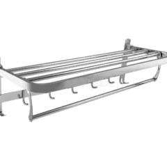 Полка для полотенец двойная с крючками 60см. BRIMIX 1048