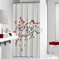 Штора для ванной комнаты 180*200 Bloossom красная  Нидерланды