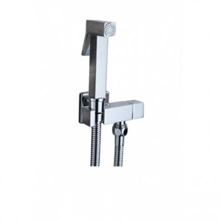 Гигиенический набор Kaiser SH-349 Хром, металлический с краном (не смесителем), квадратный (Лейка + шланг + кран)