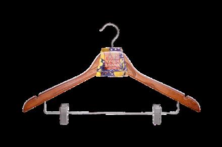 Вешалка деревянная для одежды с клипсами JHO 3012