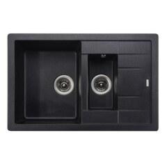 Мойка гранитная для кухни KAISER 780x500x190 Black Pearl двойная, KG2M-7850-BP