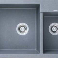 Мойка гранитная для кухни KAISER 800x500x190 Grey двойная, KG2M-8050-G